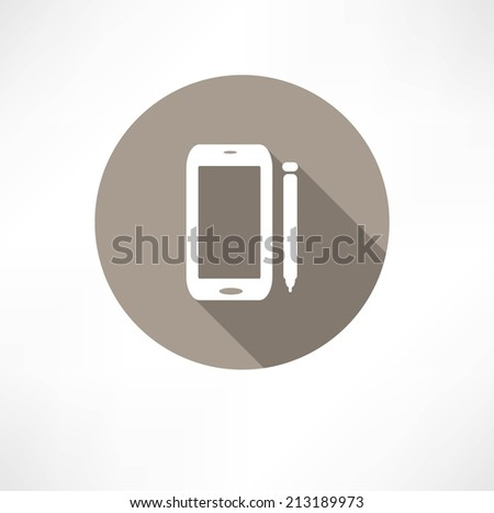 smartphone with a stylus icon - stock vector