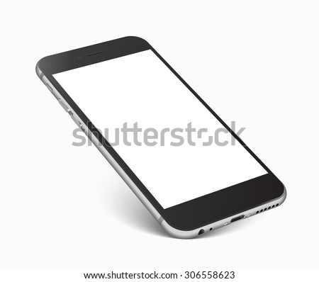Smartphone with blank screen standing on corner, isolated on white background - high detailed eps 10 vector illustration - stock vector