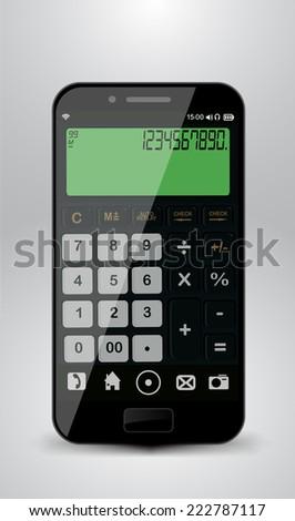Smartphone with calculator - stock vector