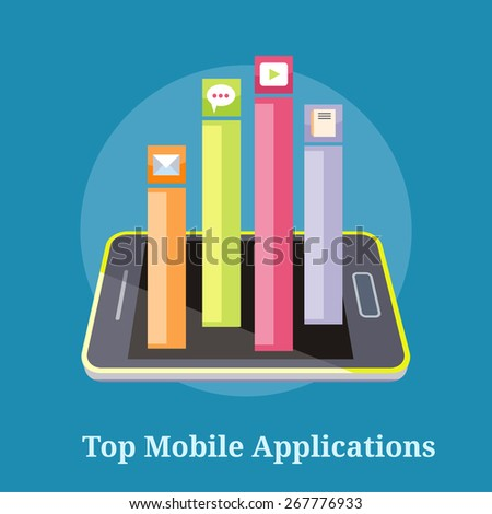 Smartphone with columns rated mobile applications. Top Apps mobile applications. Concept in flat design style. Can be used for web banners, marketing and promotional materials, presentation templates - stock vector