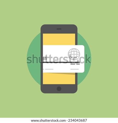 Smartphone with credit card, mobile wallet technology, wireless payment with smart phone. Flat icon modern design style vector illustration concept. - stock vector