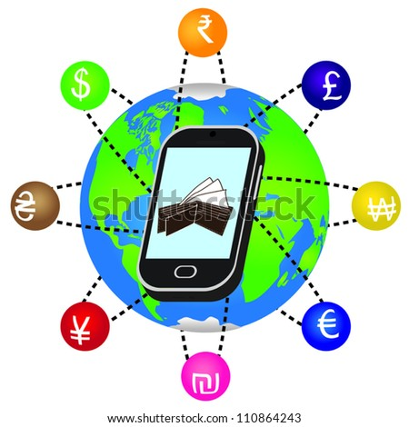 Smartphone with currency symbols orbiting the earth. - stock vector
