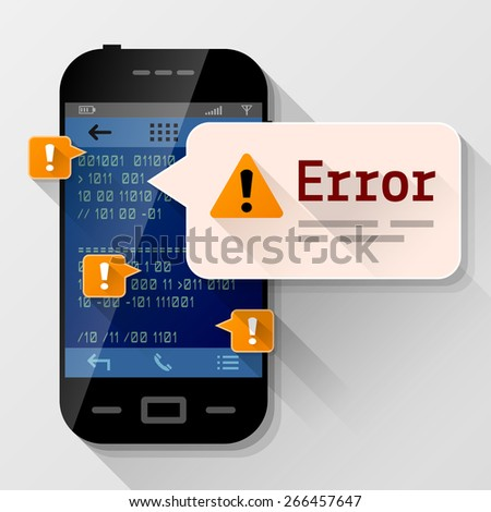 Smartphone with error message bubble. Dialog box pop up over screen of phone. Vector illustration about smartphone, communication, mobile technology, notification, application prompting, etc - stock vector