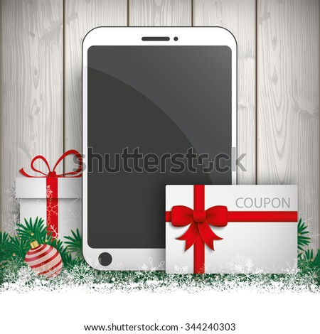 Smartphone with gift, coupon and snow on the wooden background. Eps 10 vector file. - stock vector