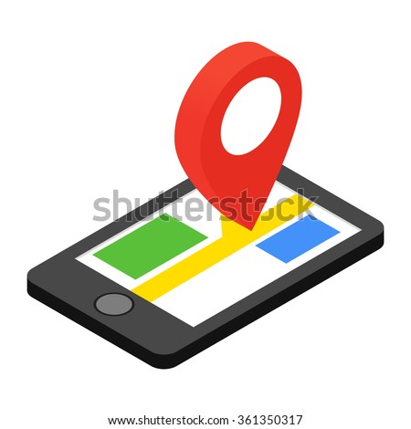Smartphone with GPS navigator isometric 3d icon. GPS icon. GPS icon art. GPS icon web. GPS icon new. Navigation display icon. Navigation display icon art. Navigation display icon web - stock vector