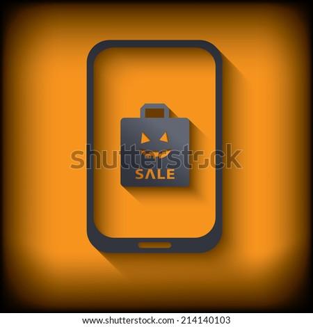 Smartphone with halloween sales invitation. Eps10 vector illustration. - stock vector