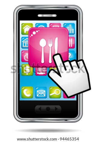Smartphone with hand cursor opening restaurant application. Vector icon. - stock vector