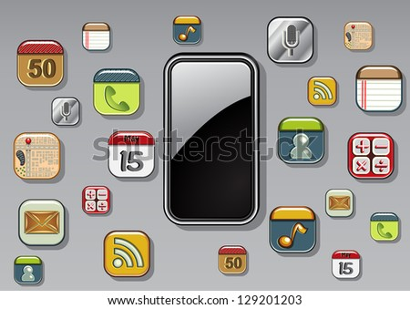 smartphone with icons - stock vector