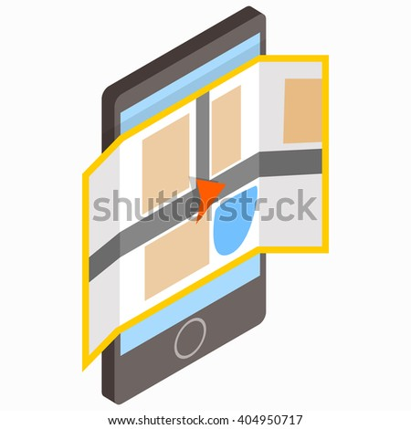 Smartphone with map on the screen on icon - stock vector
