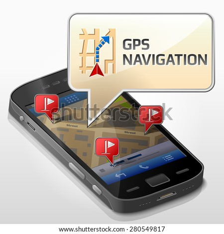 Smartphone with message bubble about gps navigation. Dialog box pop up over screen of phone. Vector illustration about smartphone, navigation, mobile technology, gps location, tracking, map, etc - stock vector