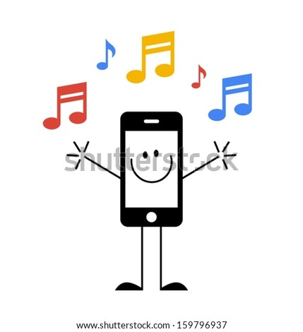 smartphone with music notes - stock vector