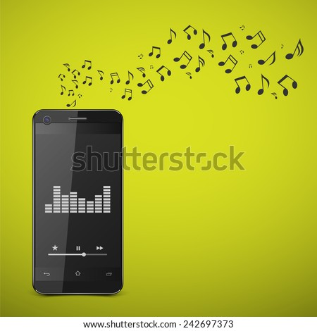 Smartphone with music notes.vector - stock vector