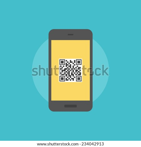 Smartphone with QR-code label on a screen, internet link with information when scanning qr code. Flat icon modern design style vector illustration concept. - stock vector