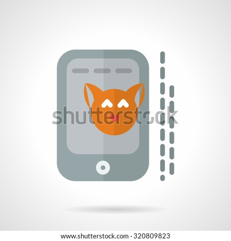 Smartphone with red cat portrait. Flat style vector icon. Pets selfie. Elements for web design and business - stock vector