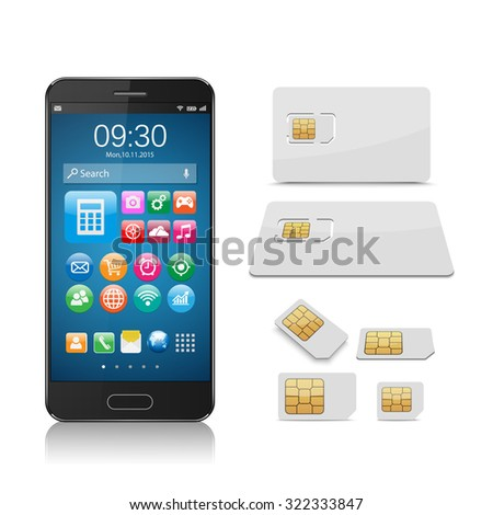 Smartphone with SIM card isolated on white background,vector - stock vector