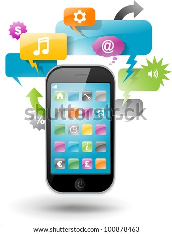 Smartphone with speech bubble and application icons - stock vector