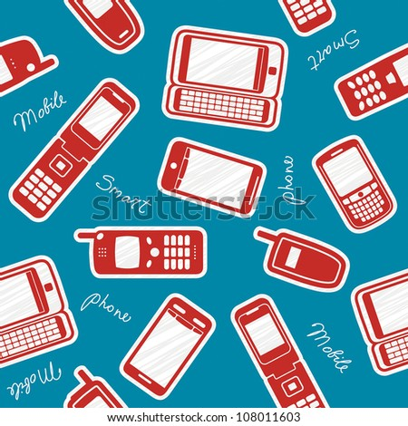 Smartphones and mobile phones on a blue background - stock vector