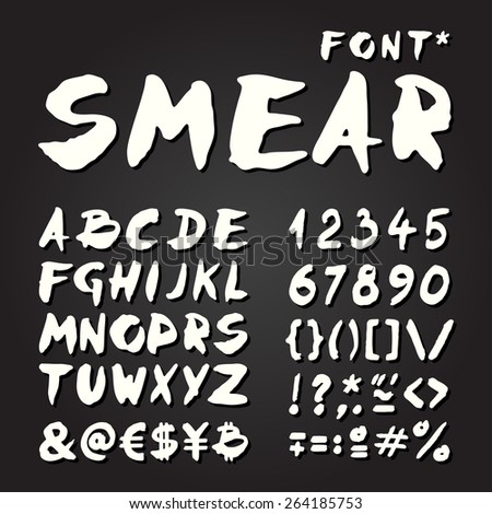 Smear hand painted font for seasonal posters or other works on chalkboard background - stock vector