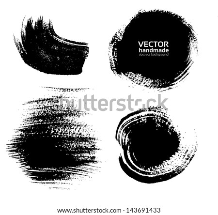 Smears and fingerprints thick black paint on textured paper - stock vector