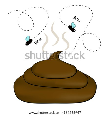 Smelly poop with flies - stock vector