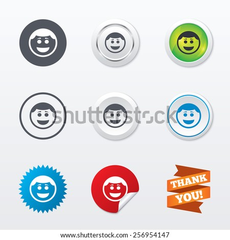 Smile face sign icon. Happy smiley with hairstyle chat symbol. Circle concept buttons. Metal edging. Star and label sticker. Vector - stock vector