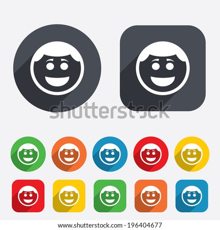 Smile face sign icon. Happy smiley with hairstyle chat symbol. Circles and rounded squares 12 buttons. Vector - stock vector