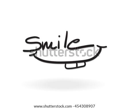 Smile hand lettering font design, vector illustration, graphic, background - stock vector