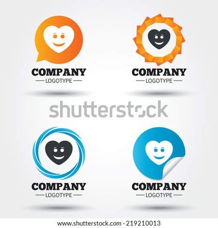 Smile heart face sign icon. Happy smiley with hairstyle chat symbol. Business abstract circle logos. Icon in speech bubble, wreath. Vector - stock vector