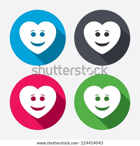 Smile heart face sign icon. Happy smiley with hairstyle chat symbol. Circle buttons with long shadow. 4 icons set. Vector - stock vector
