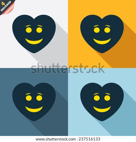 Smile heart face sign icon. Happy smiley with hairstyle chat symbol. Four squares. Colored Flat design buttons. Vector - stock vector