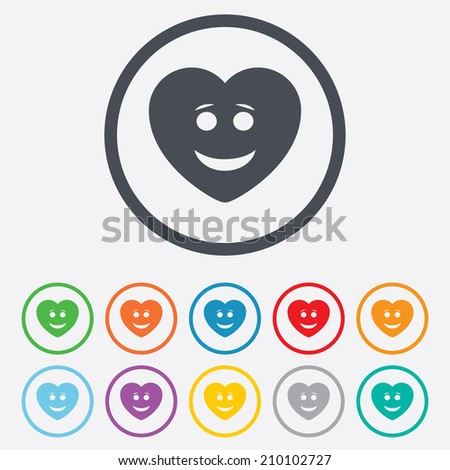 Smile heart face sign icon. Happy smiley with hairstyle chat symbol. Round circle buttons with frame. Vector - stock vector