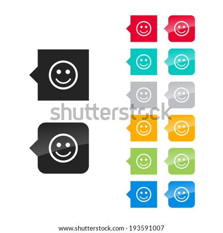 Smile icon for user interface - flat and glossy style, color variations. Stylized square speech bubbles with symbol. - stock vector