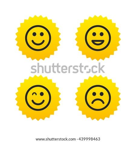 Smile icons. Happy, sad and wink faces symbol. Laughing lol smiley signs. Yellow stars labels with flat icons. Vector - stock vector
