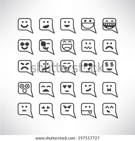 smile icons set, emoticons - stock vector