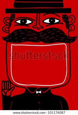 smile man with big mouth for text - stock vector