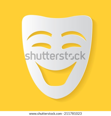 Smile mask symbol,clean vector - stock vector