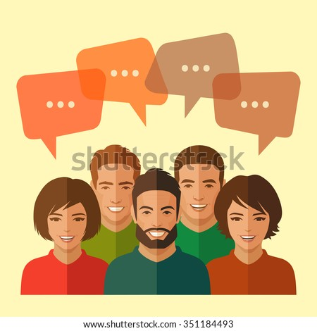 smile people group, business team, chat dialog - stock vector