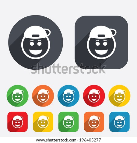 Smile rapper face sign icon. Happy smiley with hairstyle chat symbol. Circles and rounded squares 12 buttons. Vector - stock vector
