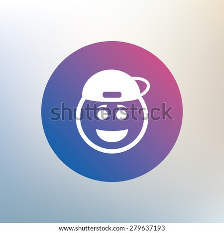 Smile rapper face sign icon. Happy smiley with hairstyle chat symbol. Icon on blurred background. Vector - stock vector