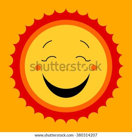 Smile sweat cute sun. Vector cute kids sun symbol. Happy kiddish sun sign. Laughing happy smile sun icon.  Modern yellow cute kids design. Smiley cute sun icons. Happy emotion. Vector illustration - stock vector