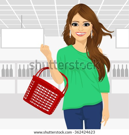 smile woman holding an empty shopping basket in supermarket - stock vector