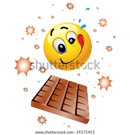 Smiley ball wishing to taste sweet chocolate - stock vector