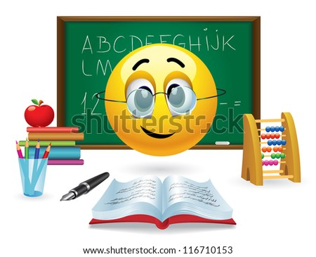 Smiley ball with eyeglasses in front of green board in classroom - stock vector