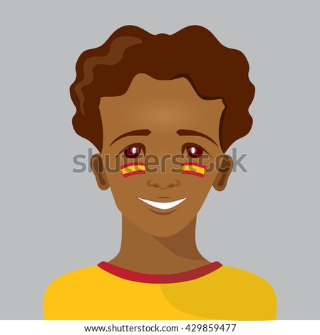 Smiley boy with paint on his cheeks (spanish flag colors). Vector illustration for your graphic design.  - stock vector