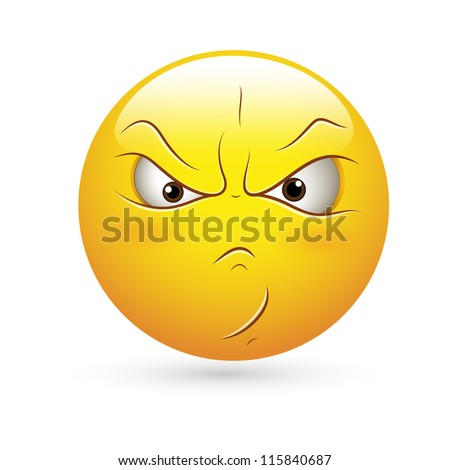 Smiley Emoticons Face Vector - Angry  Expression - stock vector
