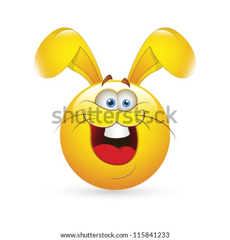 Smiley Emoticons Face Vector - Easter Bunny - stock vector