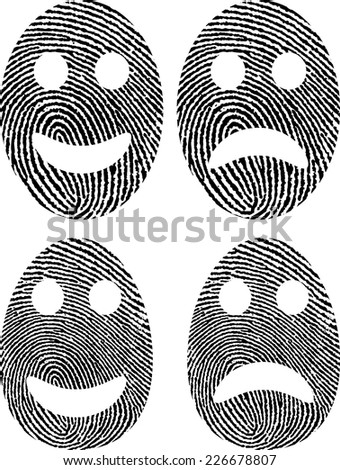 smiley face and angry face with fingerprint - stock vector