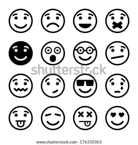 Smiley faces ns set - stock vector