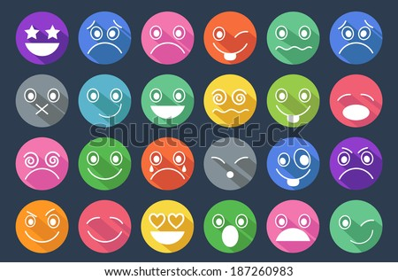 Smiley Icons Flat Design - stock vector