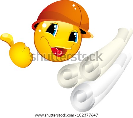 Smiley icons in a helmet with a builder tool shows a gesture OK - stock vector